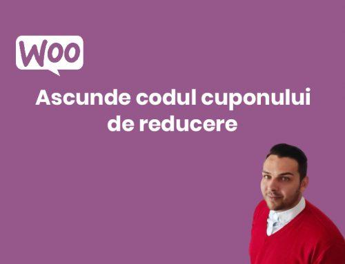 Woocommerce: Ascunde Codul Cuponului de Reducere